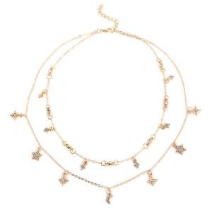 Kratka dvostruka ogrlica s kristalima Mjesec zvijezde