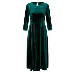Midi baršunasta haljina 3/4 rukava