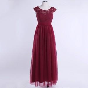 Duga svečana haljina s čipkom na gornjem dijelu