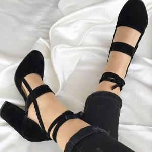 Cipele izgleda brušene kože na punu petu