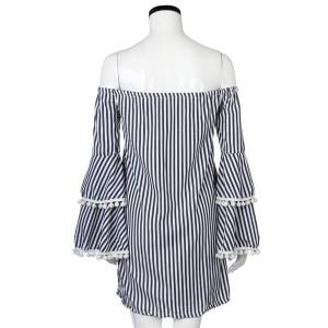 Prugasta off shoulder haljina zvono rukava s pomponima