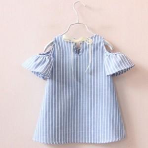 Mini prugasta haljina s mašnom na leđima za djevojčice