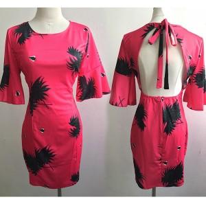 Mini haljina otvorenih leđa zvono rukava s printom listova
