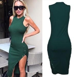 Prugasta zelena haljina s bočnom dugmadi