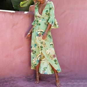 Boho cvjetna kimono haljina na preklop