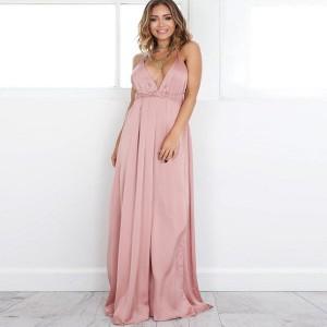 Duga satenasta haljina otvorenih leđa veličina S