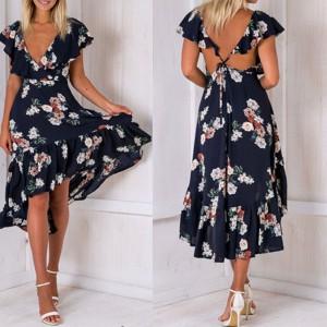 Asimetrična cvjetna haljina ukriženih leđa