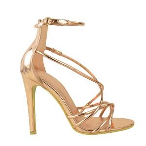 Zlatne gladijator sandale na visoku petu