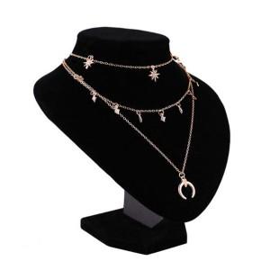 Choker ogrlica s tri lančića mjesec zvijezde
