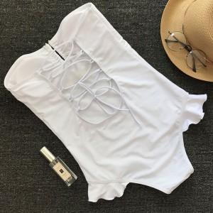 Bijeli push up bandeau kupaći kostim s volanima