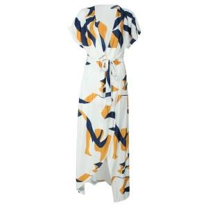Duga haljina na preklop geometrijskog printa