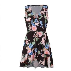 Mini cvjetna preklopna haljina s volanima standardni S