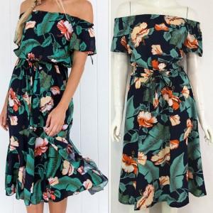 Midi zelena cvjetna haljina otvorenih ramena