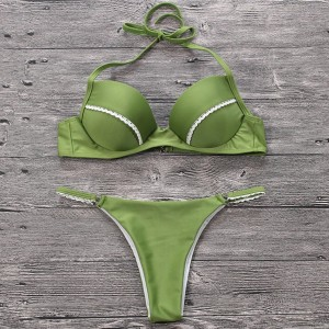 Zeleni push up kupaći kostim s čipkom