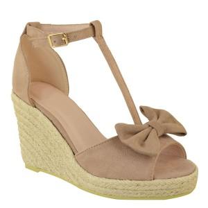 Wedge sandale s mašnom izgleda brušene kože