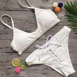 Rebrasti push up kupaći kostim s vezicama