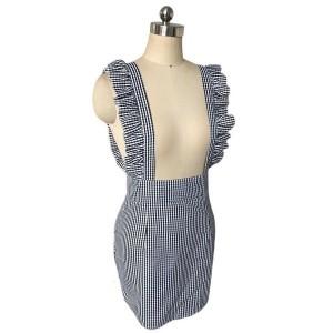 Mini kockasta haljina na tregere