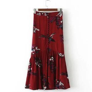 Duga vintage cvjetna suknja na dugmad