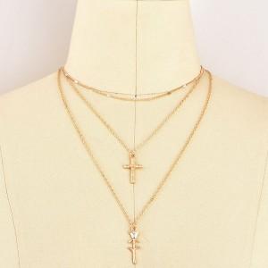 Mini 3 ogrlice ruža križ choker