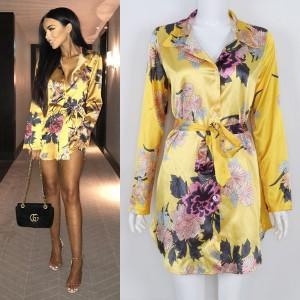 Mini satenasta košulja haljina cvjetnog uzorka