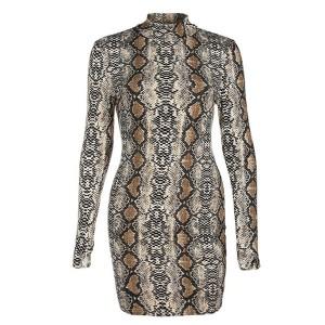 Mini haljina zmijskog uzorka s povišenim ovratnikom