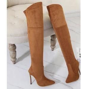 Visoke čizme iznad koljena izgleda brušene kože