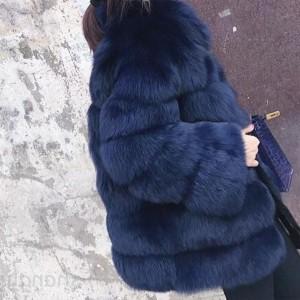 Luksuzna srednje duga bunda s ovratnikom standardni 42/XL CRNA BOJA