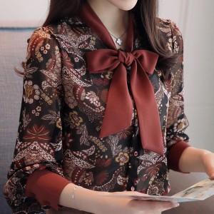 Elegantna cvjetna košulja s mašnom
