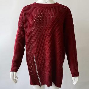 Preveliki rupičasti pulover sa zipperom