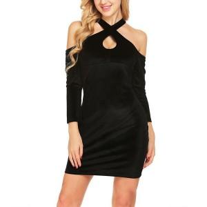 Mini baršunasta haljina ukriženih ramena