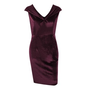 Midi baršunasta haljina otvorenih ramena