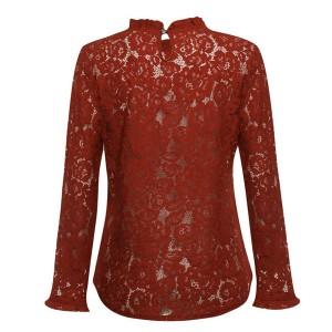 Čipkana transparentna cvjetna bluza dugih rukava