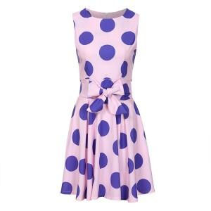 Mini točkasta haljina zvono kroja s mašnom