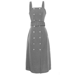 Prugasta haljina na dugmad s remenom