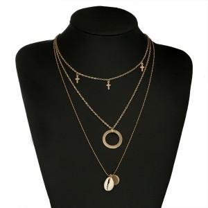 Set od 3 ogrlice križić, krug, školjka