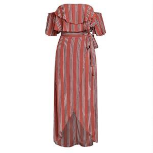 Duga pamučna haljina otvorenih ramena na pruge *limitirana kolekcija* standardni S