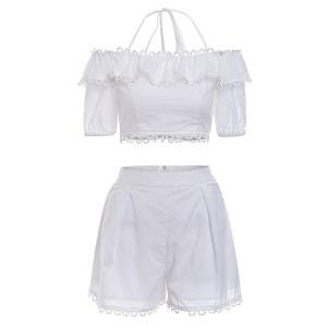 Vezeni pamučni komplet hlače + top otvorenih ramena *limitirana kolekcija*