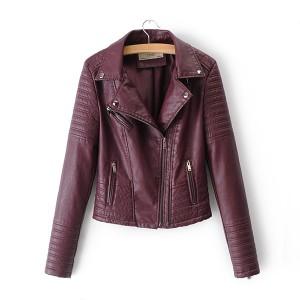 Motoristička kožna jakna s naborima