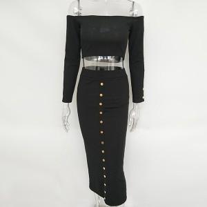 Midi haljina otvorenih ramena u dva dijela top + suknja