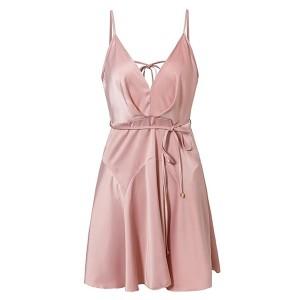 Luksuzna mini satenasta haljina s volanima na leđima *limitirana kolekcija*