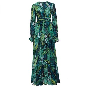 Duga haljina preklopnog izgleda tropskog uzorka *limitirana kolekcija*