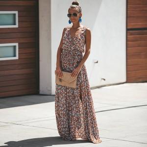Duga cvjetna haljina s prorezom *limitirana kolekcija*