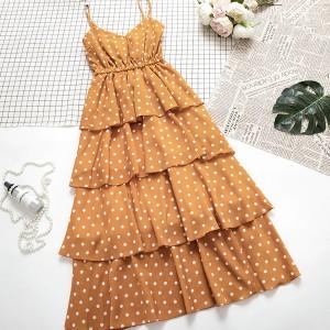 Midi točkasta haljina na volane zvono kroja