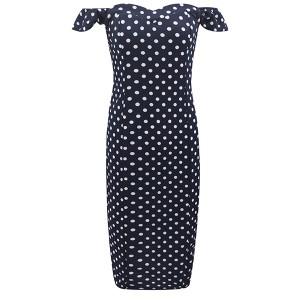 Midi točkasta haljina otvorenih ramena