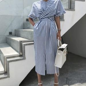 Midi pamučna haljina preklopnog izgleda limitirana kolekcija