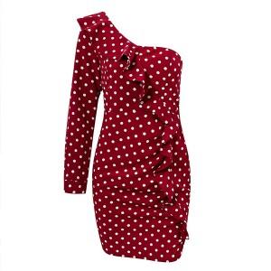 Mini točkasta haljina s volanima na jedno rame