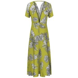 Duga cvjetna haljina dubokog izreza