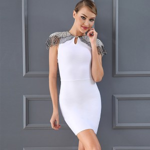 Luksuzna mini bandage haljina s ovratnikom od perlica *premium kvaliteta*