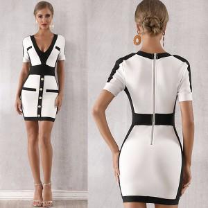 Luksuzna mini dvobojna bandage haljina s ukrasnom dugmadi *premium kvaliteta*