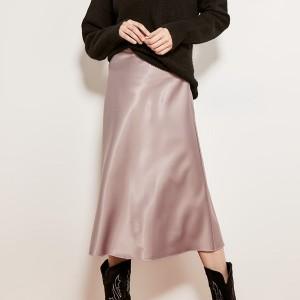 Midi satenasta suknja olovka kroja